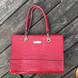 Vintage Anne Klein Red Snakeskin Bag